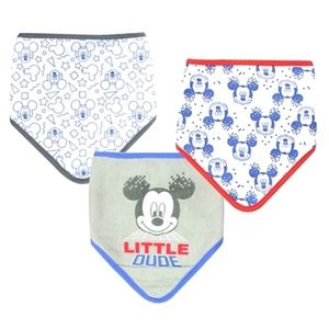 NEW Bibs Mickey Mouse Disney Bandana Bib Set Blue